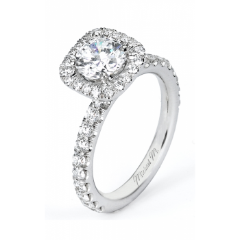 Michael M Prong Set Halo Diamond Engagement Ring