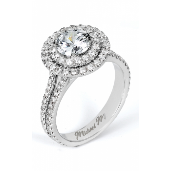 Michael M U-Set Double Halo Diamond Engagement Ring