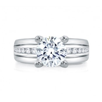 Classic Wide Channel Set Round Center Engagement Ring