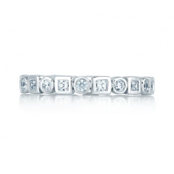 Round and Princess Eternity Anniversary Ring