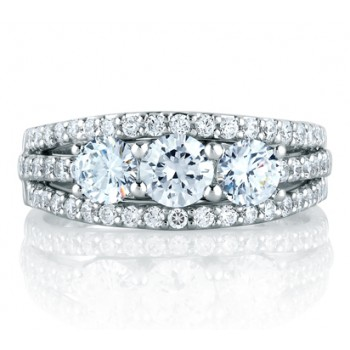 Hi Fashion Three Stone Band with Triple Diamond Encrusted