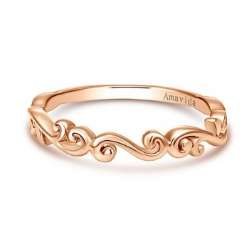 Vintage 18k Rose Gold Curved Wedding Band
