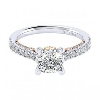 18k White/Rose Gold Cushion Cut Straight Diamond Engagement Ring