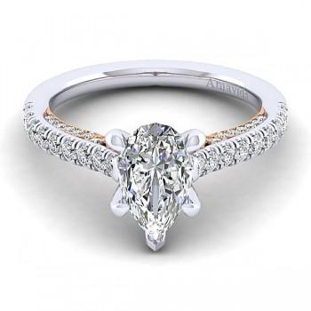 18k White/Rose Gold Pear Shape Straight Diamond Engagement Ring