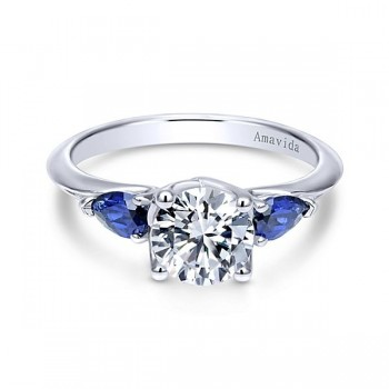 18k White Gold Round 3 Stones A Quality Sapphire Engagement Ring