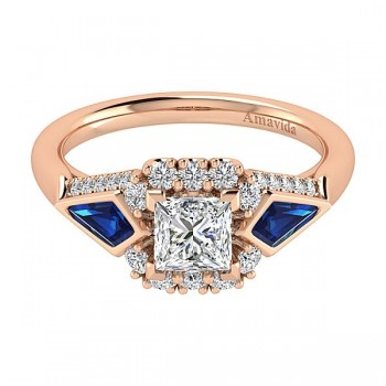 18k Rose Gold Princess Cut Halo Diamond A Quality Sapphire Engagement Ring