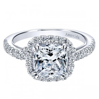 18k White Gold Amavida Cushion Cut Halo Diamond Engagement Ring