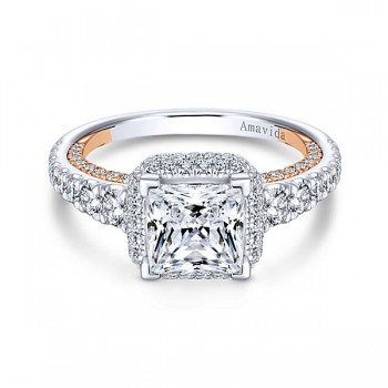 18k White/Rose Gold Princess Cut Double Halo Diamond Engagement Ring