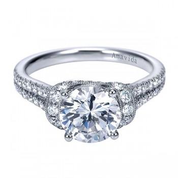 Vintage 18k White Gold Round Straight Diamond Engagement Ring