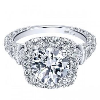 Vintage 18k White Gold Amavida Round Halo Diamond Engagement Ring