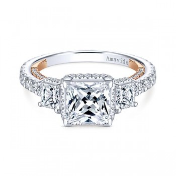 18k White/Rose Gold Princess Cut 3 Stones Halo Diamond Engagement Ring
