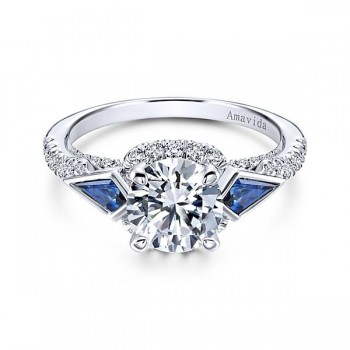 18k White Gold Round 3 Stones Halo Diamond A Quality Sapphire Engagement Ring