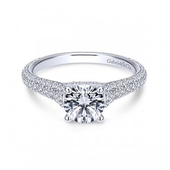 18k White Gold Round Straight Diamond Engagement Ring