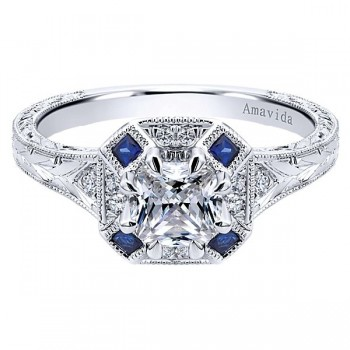 Vintage Platinum Cushion Cut Halo Diamond A Quality Sapphire Engagement Ring