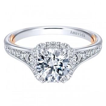 18k White/Rose Gold Amavida Round Halo Diamond Engagement Ring
