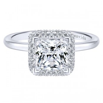 18k White Gold Princess Cut Double Halo Diamond Engagement Ring