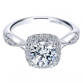 18k White Gold Amavida Round Double Halo Diamond Engagement Ring