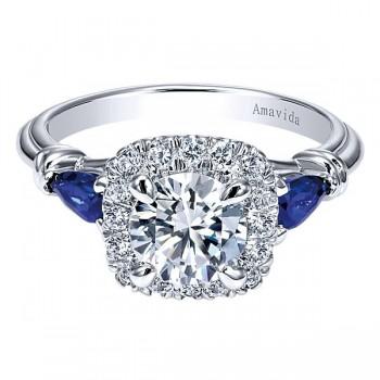 18k White Gold Amavida Round Halo Diamond A Quality Sapphire Engagement Ring