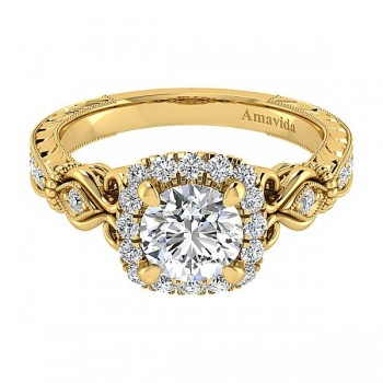 Vintage 18k Yellow Gold Round Halo Diamond Engagement Ring