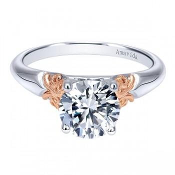 Vintage 18k White/Rose Gold Round Straight Engagement Ring