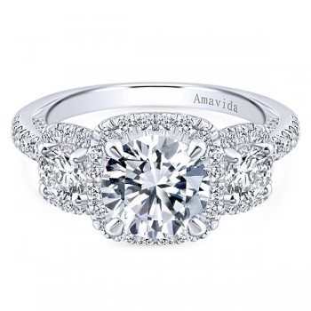 18k White Gold Round 3 Stones Halo Diamond Engagement Ring