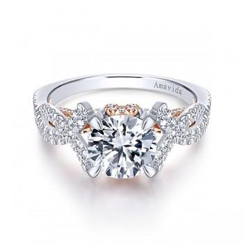 18k White/Rose Gold Round Twisted Diamond Engagement Ring