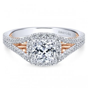 18k White/Rose Gold Cushion Cut Halo Diamond Engagement Ring