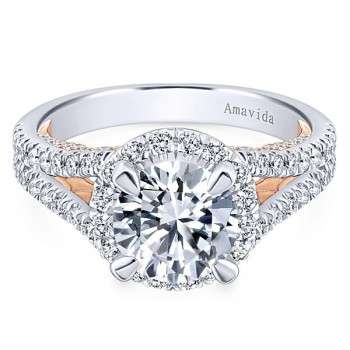 18k White/Rose Gold Round Halo Diamond Engagement Ring
