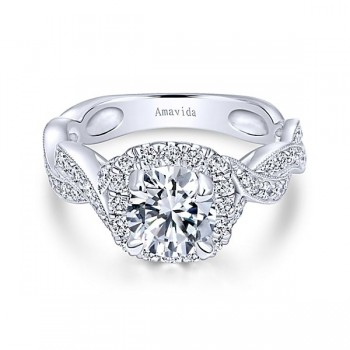 18k White Gold Round Amavida Halo Diamond Engagement Ring