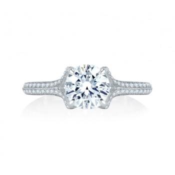 Unique Split Shank Micro Pav? Round Diamond Center Quilted Engagement Ring