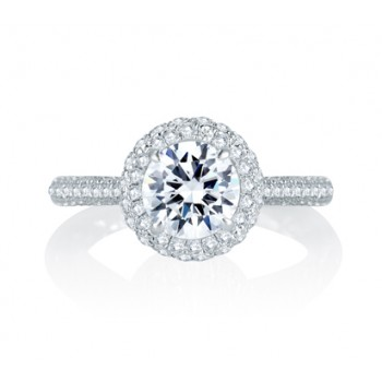 Micro Pav? Halo Round Diamond Center Quilted Engagement Ring
