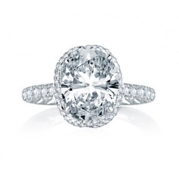 A. Jaffe Dazzling Oval Pave Vine-Crossover Diamond Engagement Ring