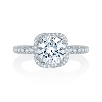 A.Jaffe Intertwined Diamond Halo Quilted Engagement Ring