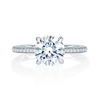 Four Prong Hand Set Pav? Round Diamond Quilted Engagement Ring