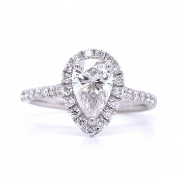 Bridal Rings Company Pear Shape Diamond Engagement Ring in 18K White Gold
