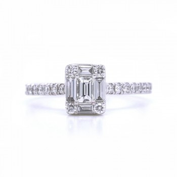 Bridal Rings Company Emerald Cut Solitaire Engagement Ring in 18K White Gold