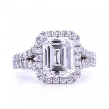Bridal Rings Company Halo Radiant Cut Engagement Ring in 18K White Gold