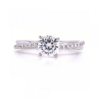 Bridal Rings Company Twist Round Diamond Engagement Ring in 14K White Gold
