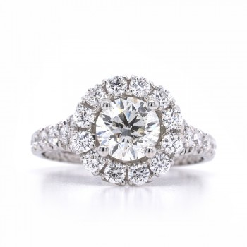 Bridal Rings Company Round Diamond Halo Engagement Ring in 18K White Gold