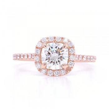 Bridal Rings Company Cushion Cut Halo Diamond Engagement Ring in 14K Rose Gold