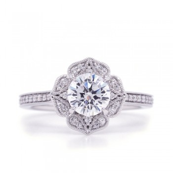 Bridal Rings Company Round Vintage Halo Diamond Engagement Ring in 14K White Gold